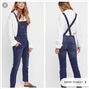 Free People Washed Denim Overalls Elk Blue Size 28